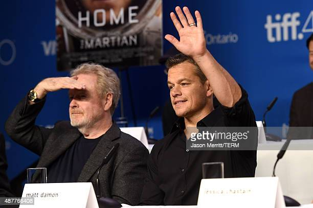 Director Ridley Scott and actor Matt Damon speak onstage during the 'The Martian' press conference at the 2015 Toronto International Film Festival at...