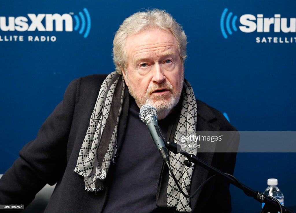Director Ridley Scott takes part in a SiriusXM 'Town Hall- Exodus: Gods and Kings' special with host Matt Bean, Editor of Entertainment Weekly, on SiriusXM's Entertainment Weekly Radio channel at the SiriusXM Studios on December 8, 2014 in New York City.