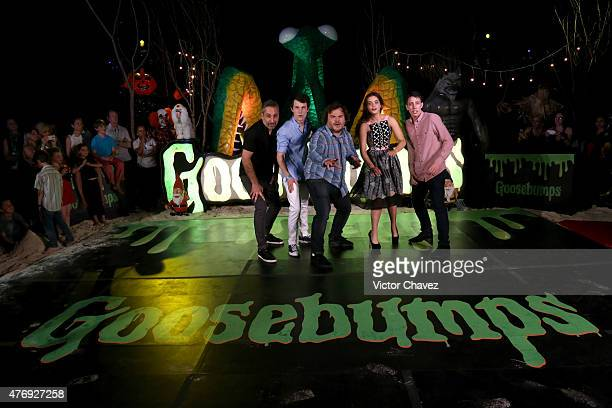 Director Rob Letterman actor Dylan Minnette actor Jack Black actress Odeya Rush and actor Ryan Lee attend 'Goosebumps' photo call during Summer Of...