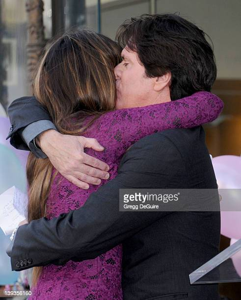 Director Rob Marshall and Penelope Cruz pose as she is honored as the first spanish born actress to receive a star on the Hollywood Walk of Fame on...