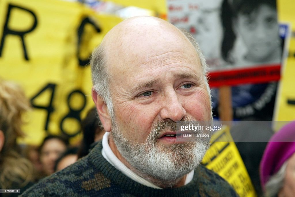 Director Rob Reiner at the Anti War Protest on February 15, 2003 in Hollywood, Los Angeles, California.