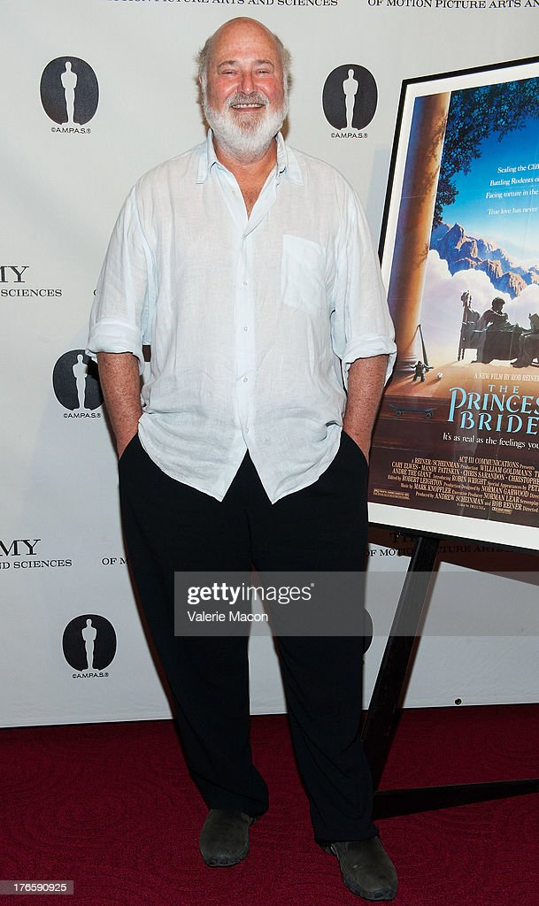Director <a gi-track='captionPersonalityLinkClicked' href=/galleries/search?phrase=Rob+Reiner&family=editorial&specificpeople=208749 ng-click='$event.stopPropagation()'>Rob Reiner</a> attends the Academy Of Motion Picture Arts And Sciences' Presents 'The Princess Bride' With Live Commentary Onstage at AMPAS Samuel Goldwyn Theater on August 15, 2013 in Beverly Hills, California.