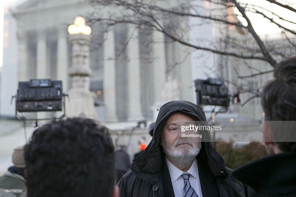 Director <a gi-track='captionPersonalityLinkClicked' href=/galleries/search?phrase=Rob+Reiner&family=editorial&specificpeople=208749 ng-click='$event.stopPropagation()'>Rob Reiner</a> stands in line waiting to get inside the U.S. Supreme Court in Washington, D.C., U.S., on Tuesday, March 26, 2013. The Supreme Court takes up what is probably its biggest civil-rights dispute in decades this week when it hears arguments that could lead to the legalization of same-sex marriage nationwide. Photographer: Andrew Harrer/Bloomberg via Getty Images