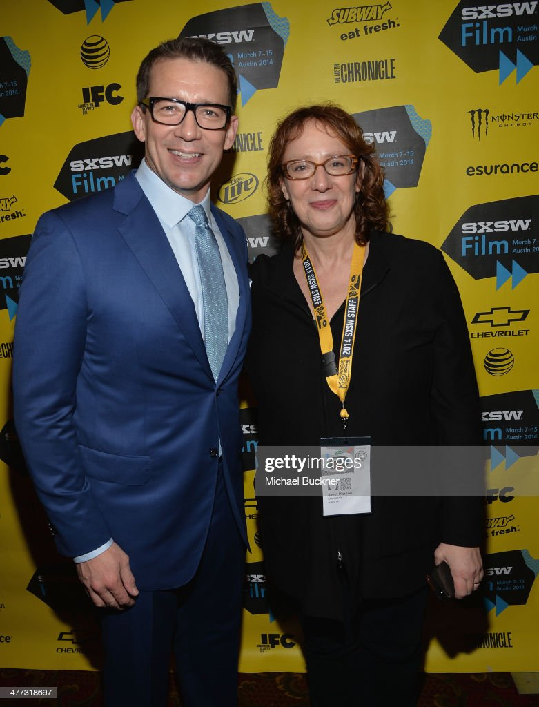 Director Rob Thomas (L) and <a gi-track='captionPersonalityLinkClicked' href=/galleries/search?phrase=Janet+Pierson&family=editorial&specificpeople=2291171 ng-click='$event.stopPropagation()'>Janet Pierson</a>, SXSW Film Festival Director, arrive at the premiere of 'Veronica Mars' during the 2014 SXSW Music, Film + Interactive Festival at the Paramount Theatre on March 8, 2014 in Austin, Texas.