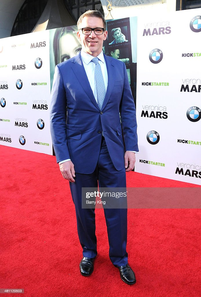 Director Rob Thomas arrives at the Los Angeles premiere 'Veronica Mars' on March 12, 2014 at TCL Chinese Theatre in Hollywood, California.