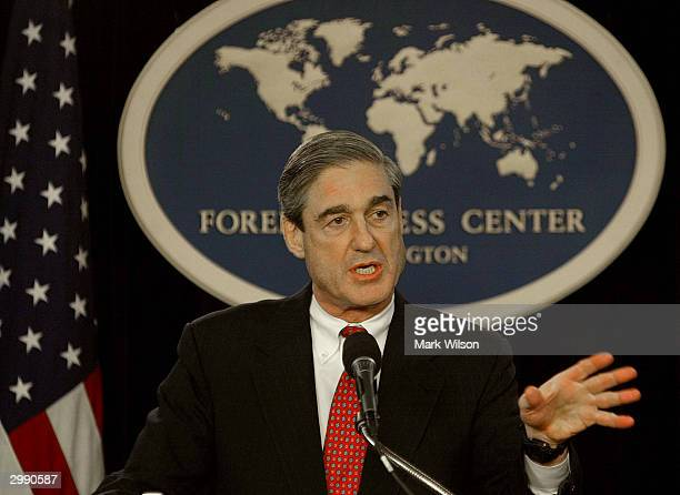 Director Robert Mueller speaks at the Foreign Press Center February 17 2004 in Washington DC Mueller spoke to members of foreign media about...