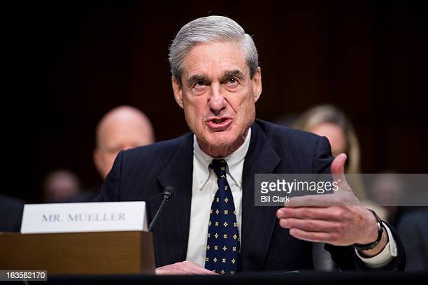 Director Robert Mueller testifies during the Senate Intelligence Committee hearing on 'Current and Projected National Security Threats to the United...
