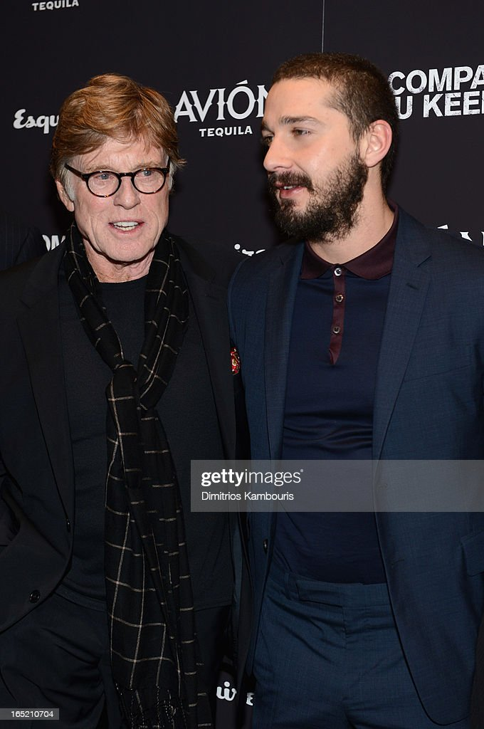 Director Robert Redford and Actor Shia LaBeouf attend 'The Company You Keep' New York Premiere at MOMA on April 1, 2013 in New York City.