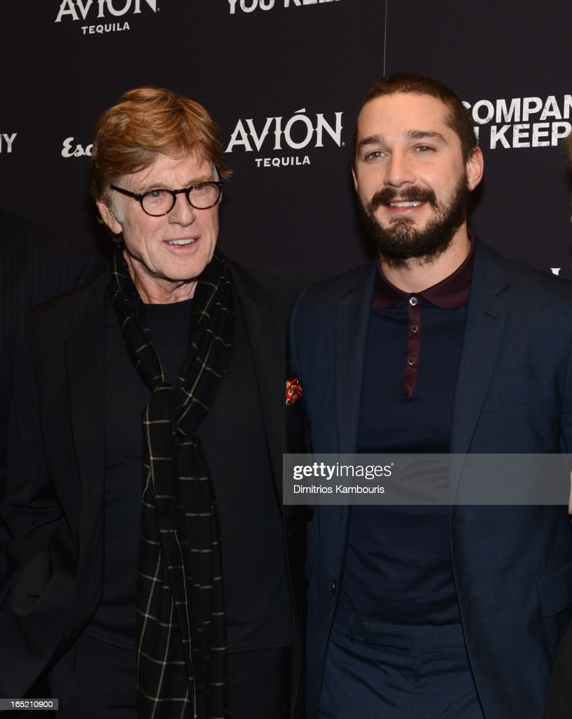 Director <a gi-track='captionPersonalityLinkClicked' href=/galleries/search?phrase=Robert+Redford&family=editorial&specificpeople=202897 ng-click='$event.stopPropagation()'>Robert Redford</a> and Actor Shia LaBeouf attend 'The Company You Keep' New York Premiere at MOMA on April 1, 2013 in New York City.
