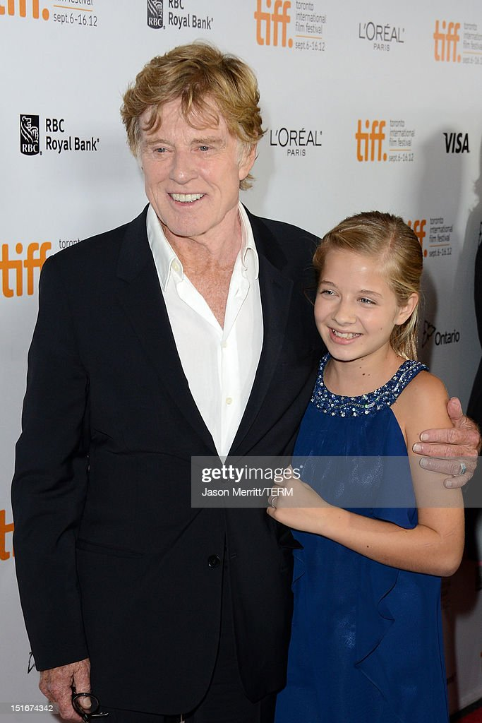 Director <a gi-track='captionPersonalityLinkClicked' href=/galleries/search?phrase=Robert+Redford&family=editorial&specificpeople=202897 ng-click='$event.stopPropagation()'>Robert Redford</a> (L) and actress Jackie Evancho arrive at 'The Company You Keep' Premiere at the 2012 Toronto International Film Festival at Roy Thomson Hall on September 9, 2012 in Toronto, Canada.