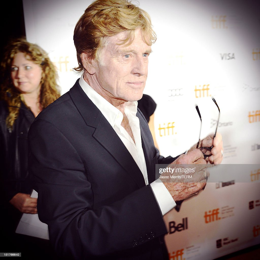 Image was processed using various digital filters) Director <a gi-track='captionPersonalityLinkClicked' href=/galleries/search?phrase=Robert+Redford&family=editorial&specificpeople=202897 ng-click='$event.stopPropagation()'>Robert Redford</a> arrives at 'The Company You Keep' Premiere at the 2012 Toronto International Film Festival at Roy Thomson Hall on September 9, 2012 in Toronto, Canada.