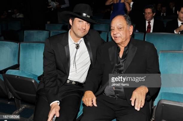 Director Robert Rodriguez and Actor Cheech Marin at the 2012 NCLR ALMA Awards PreShow at Pasadena Civic Auditorium on September 16 2012 in Pasadena...