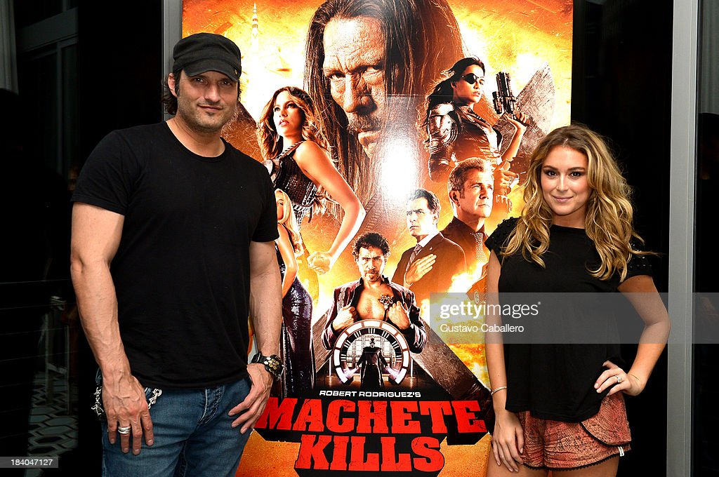 Director Robert Rodriguez and Actress Alexa Vega attend the 'Machete Kills' Screening - Post-Reception at Soho House on October 10, 2013 in Miami Beach, Florida.