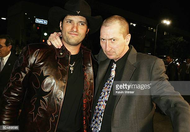 Director Robert Rodriguez and creator Frank Miller arrive at the premiere of 'Sin City' at Mann National Theater on March 28 2005 in Los Angeles...