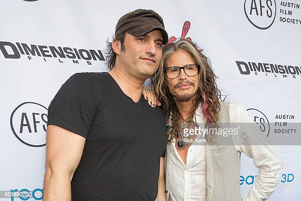 Director Robert Rodriguez and singersongwriter Steven Tyler arrive at the premiere of 'Sin City A Dame to Kill For' at the Paramount Theatre on...