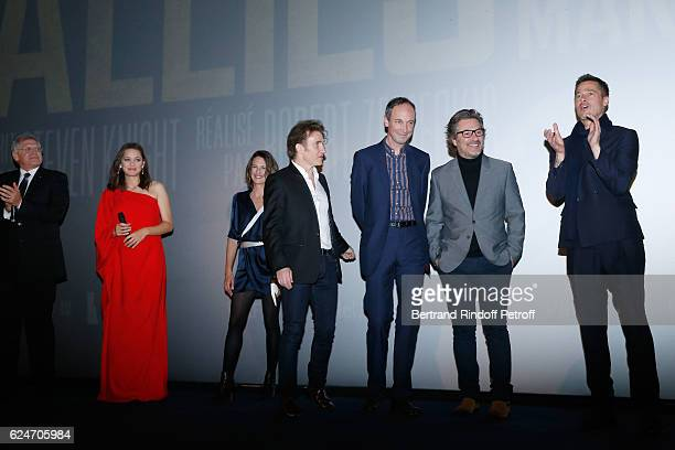 Director Robert Zemeckis actors Marion Cotillard Camille Cottin Thierry Fremont Xavier de Guillebon Eric Theobald and Brad Pitt present the 'Allied...