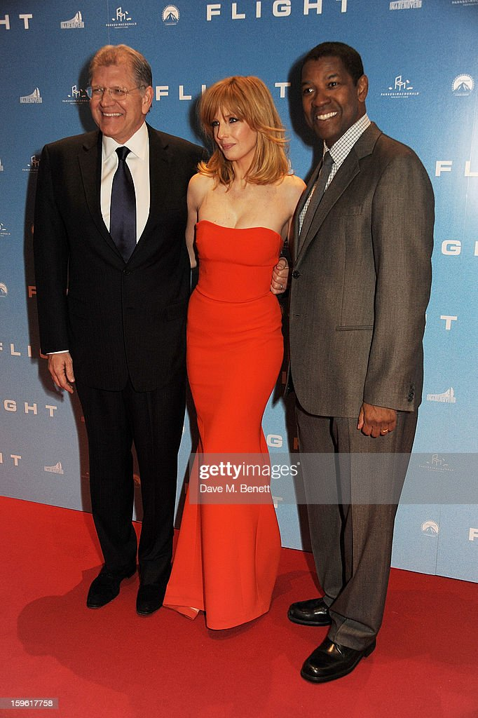 Director Robert Zemeckis, actress Kelly Reilly and actor Denzel Washington attend the UK Premiere of 'Flight' at the the Empire Leicester Square on January 17, 2013 in London, England.