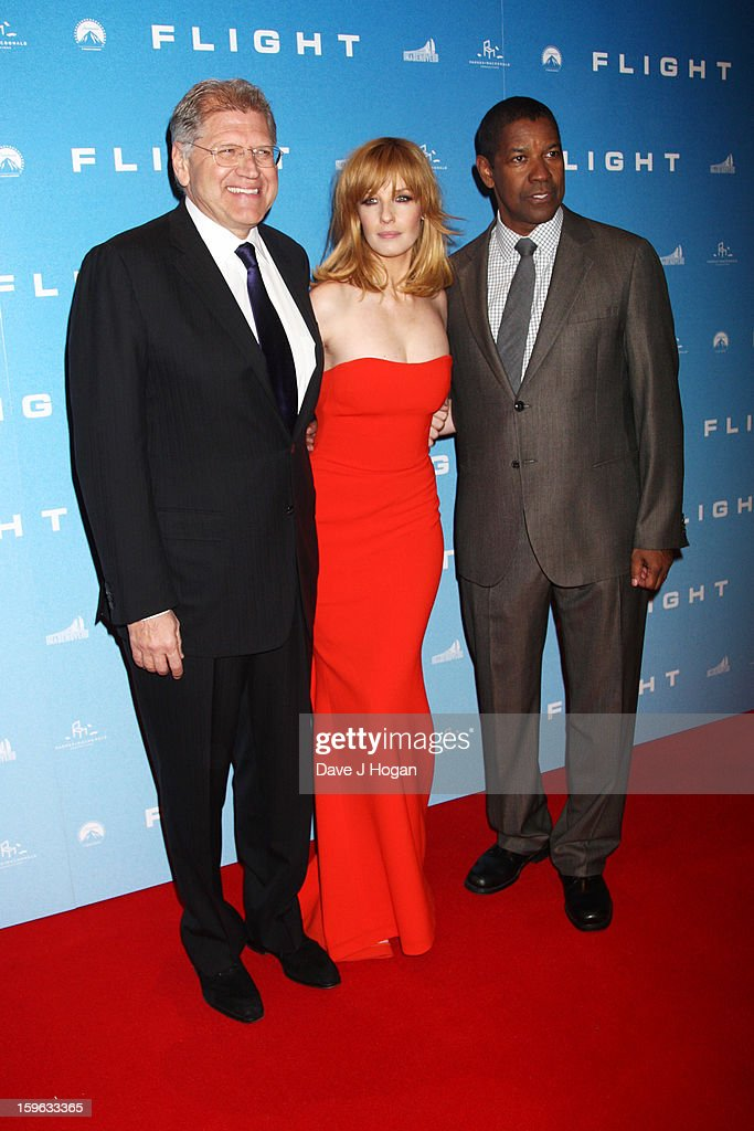 Director <a gi-track='captionPersonalityLinkClicked' href=/galleries/search?phrase=Robert+Zemeckis&family=editorial&specificpeople=211550 ng-click='$event.stopPropagation()'>Robert Zemeckis</a>, actress <a gi-track='captionPersonalityLinkClicked' href=/galleries/search?phrase=Kelly+Reilly&family=editorial&specificpeople=216558 ng-click='$event.stopPropagation()'>Kelly Reilly</a> and actor <a gi-track='captionPersonalityLinkClicked' href=/galleries/search?phrase=Denzel+Washington&family=editorial&specificpeople=171332 ng-click='$event.stopPropagation()'>Denzel Washington</a> attend the UK premiere of 'Flight' at The Empire Leicester Square on January 17, 2013 in London, England.