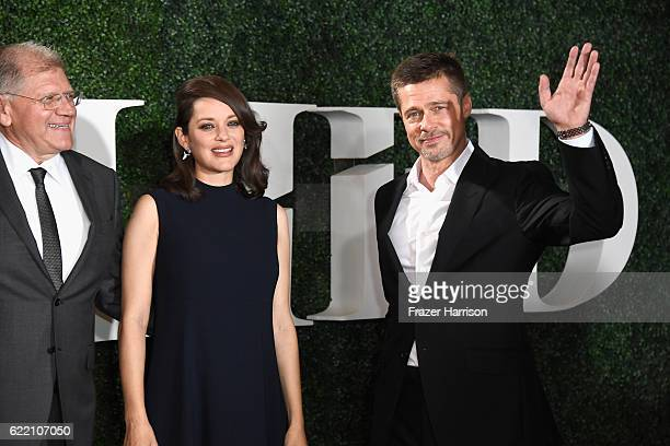 Director Robert Zemeckis actress Marion Cotillard and Brad Pitt attend the fan event for Paramount Pictures' 'Allied' at Regency Village Theatre on...
