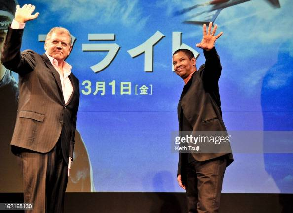 Director Robert Zemeckis and Actor Denzel Washington attend in the 'Flight' press conference at the Ritz Carlton Tokyo on February 20 2013 in Tokyo...