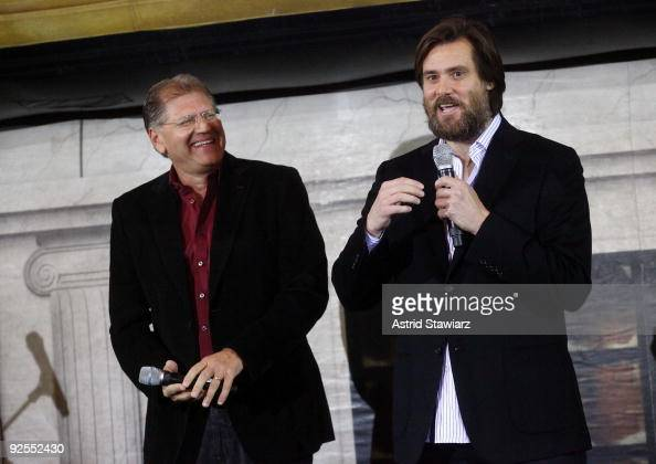 Director Robert Zemeckis and actor Jim Carrey attend the 'Disney's A Christmas Carol' train tour last stop at Grand Central Station on October 30...