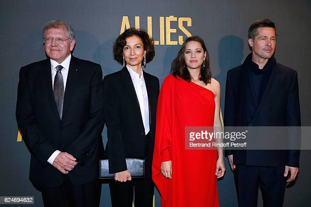 Director Robert Zemeckis French Minister of Culture and Communication Audrey Azoulay actors Marion Cotillard and Brad Pitt attend the 'Allied Allies'...