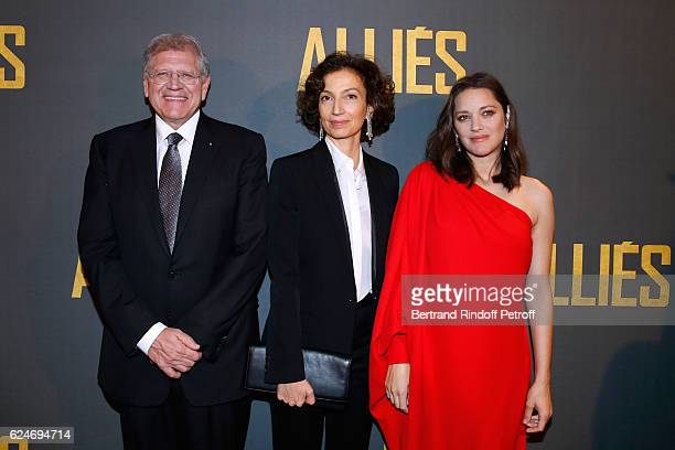 Director Robert Zemeckis French Minister of Culture and Communication Audrey Azoulay and actress Marion Cotillard attend the 'Allied Allies' Paris...
