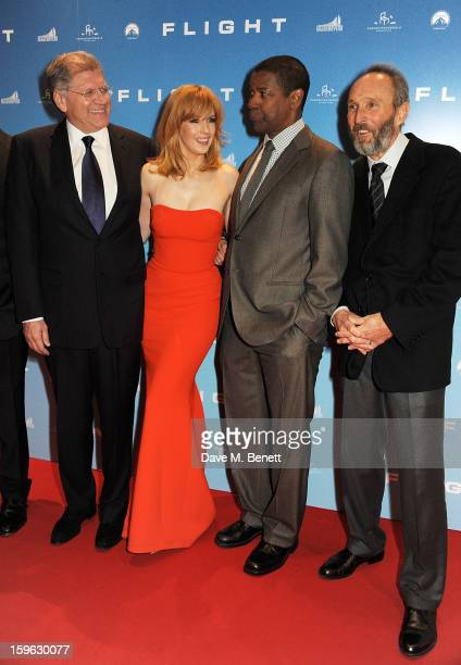 Director Robert Zemeckis Kelly Reilly Denzel Washington and producer Steve Starkey attend the UK Premiere of 'Flight' at the the Empire Leicester...