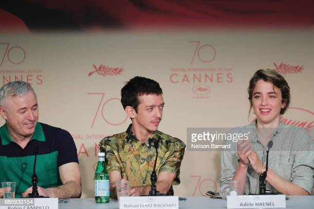 Director Robin Campillo actors Nahuel Perez Biscayart and Adele Haene attend the '120 Beats Per Minute ' Press Conference during the 70th annual...