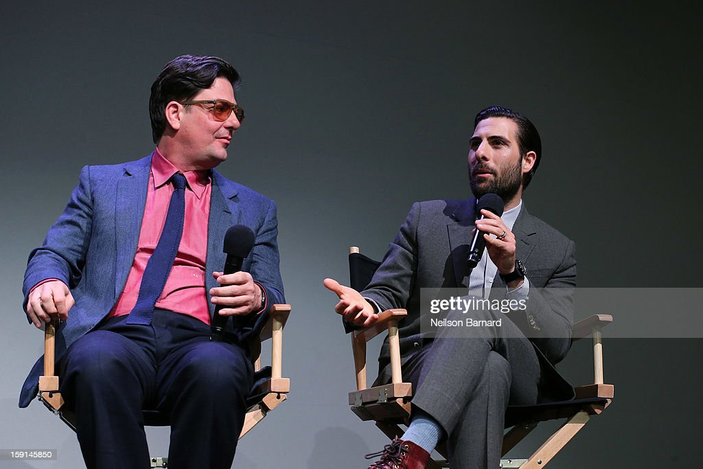Director <a gi-track='captionPersonalityLinkClicked' href=/galleries/search?phrase=Roman+Coppola&family=editorial&specificpeople=615097 ng-click='$event.stopPropagation()'>Roman Coppola</a> (L) and actor <a gi-track='captionPersonalityLinkClicked' href=/galleries/search?phrase=Jason+Schwartzman&family=editorial&specificpeople=216351 ng-click='$event.stopPropagation()'>Jason Schwartzman</a> chat on stage during the Meet The Filmmakers panel discussion for 'A Glimpse Inside The Mind Of Charles Swan III' at Apple Store Soho on January 8, 2013 in New York City.