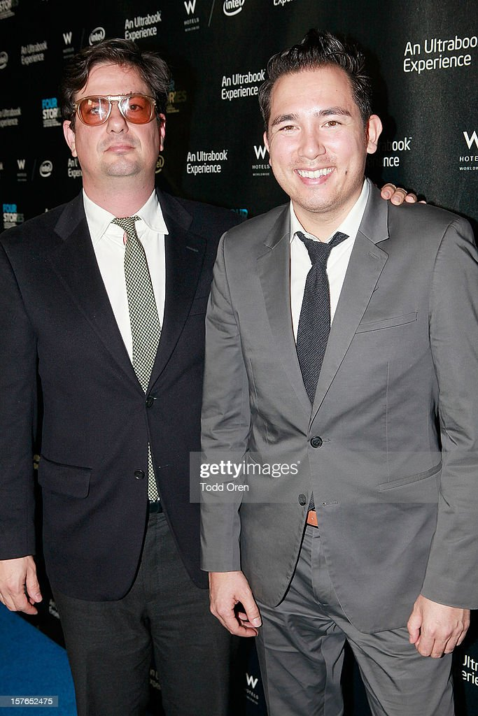 Director <a gi-track='captionPersonalityLinkClicked' href=/galleries/search?phrase=Roman+Coppola&family=editorial&specificpeople=615097 ng-click='$event.stopPropagation()'>Roman Coppola</a> and George Freck pose at the Intel and W Hotels present Four Stories Film Series at W Hotel Los Angeles - Westwood on December 4, 2012 in Westwood, California.