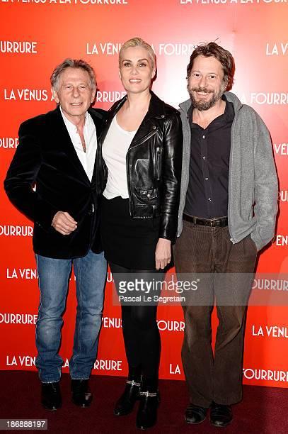Director Roman Polanski actors Emmanuelle Seigner and Mathieu Amalric attend 'La Venus A La Fourrure Venus In Fur' Premiere at Cinema Gaumont...