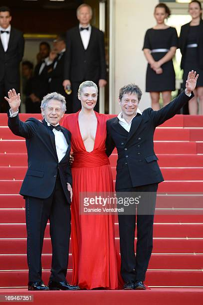Director Roman Polanski actress Emmanuelle Seigner and actor Mathieu Amalric attend the Premiere of 'La Venus A La Fourrure' during the 66th Annual...
