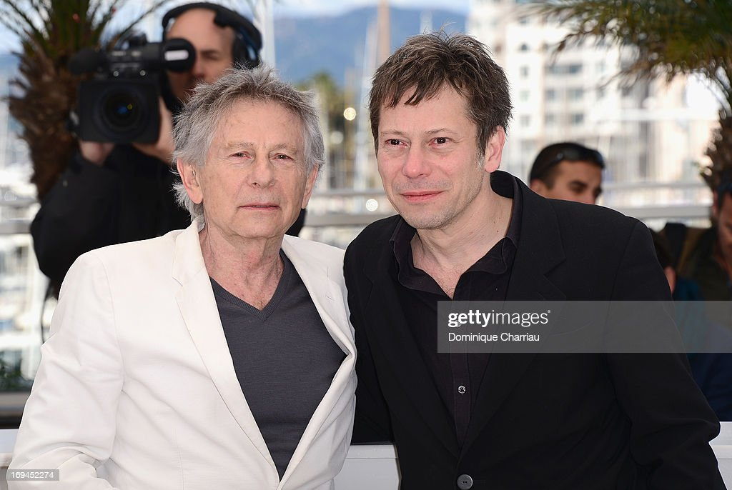 Director Roman Polanski and actor <a gi-track='captionPersonalityLinkClicked' href=/galleries/search?phrase=Mathieu+Amalric&family=editorial&specificpeople=612979 ng-click='$event.stopPropagation()'>Mathieu Amalric</a> attend the photocall for 'La Venus A La Fourrure' at The 66th Annual Cannes Film Festival at the Palais des Festivals on May 25, 2013 in Cannes, France.