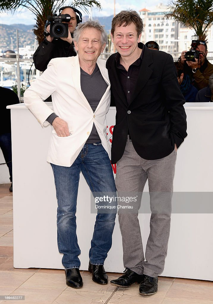 Director Roman Polanski and actor Mathieu Amalric attend the photocall for 'La Venus A La Fourrure' at The 66th Annual Cannes Film Festival at the Palais des Festivals on May 25, 2013 in Cannes, France.