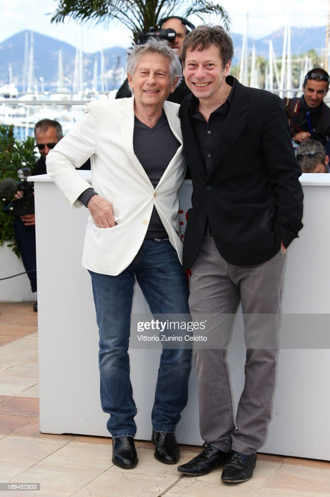 Director Roman Polanski and actor <a gi-track='captionPersonalityLinkClicked' href=/galleries/search?phrase=Mathieu+Amalric&family=editorial&specificpeople=612979 ng-click='$event.stopPropagation()'>Mathieu Amalric</a> attend the 'La Venus A La Fourrure' Photocall during the 66th Annual Cannes Film Festival on May 25, 2013 in Cannes, France.