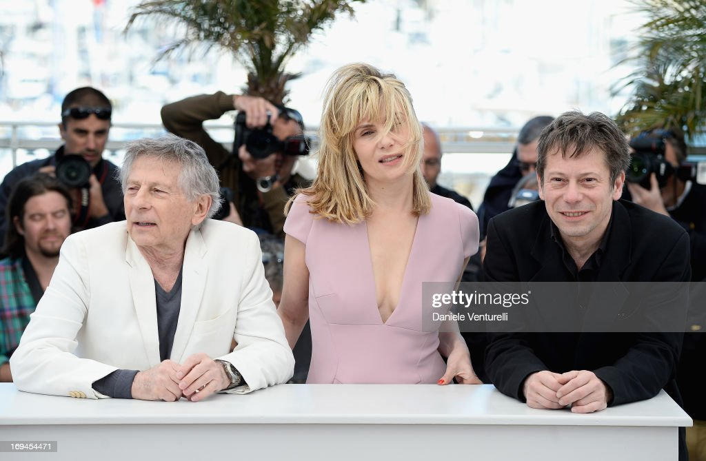 Director Roman Polanski and actors <a gi-track='captionPersonalityLinkClicked' href=/galleries/search?phrase=Emmanuelle+Seigner&family=editorial&specificpeople=240590 ng-click='$event.stopPropagation()'>Emmanuelle Seigner</a> and <a gi-track='captionPersonalityLinkClicked' href=/galleries/search?phrase=Mathieu+Amalric&family=editorial&specificpeople=612979 ng-click='$event.stopPropagation()'>Mathieu Amalric</a> attend the photocall for 'La Venus A La Fourrure' at The 66th Annual Cannes Film Festival at the Palais des Festivals on May 25, 2013 in Cannes, France.