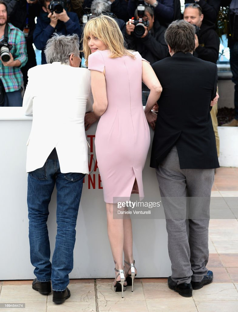 Director Roman Polanski and actors Emmanuelle Seigner and Mathieu Amalric attend the photocall for 'La Venus A La Fourrure' at The 66th Annual Cannes Film Festival at the Palais des Festivals on May 25, 2013 in Cannes, France.