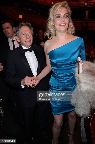 Director Roman Polanski and actress Emmanuelle Seigner arrive during the 39th Cesar Film Awards 2014 at Theatre du Chatelet on February 28 2014 in...