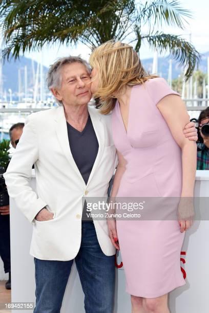 Director Roman Polanski and actress Emmanuelle Seigner attend the 'La Venus A La Fourrure' Photocall during the 66th Annual Cannes Film Festival on...