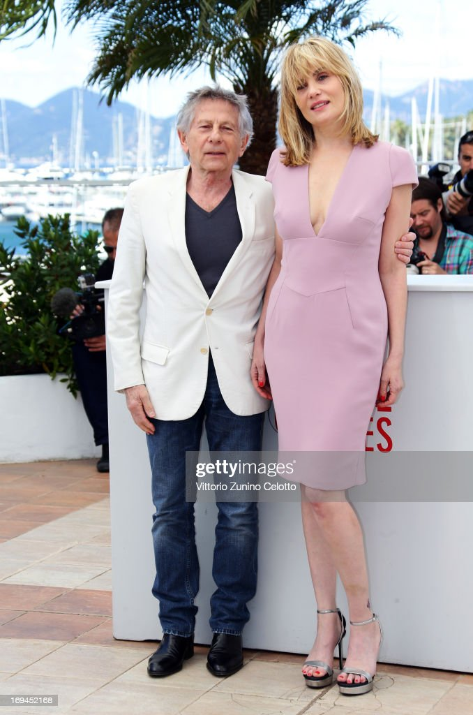 Director Roman Polanski and actress <a gi-track='captionPersonalityLinkClicked' href=/galleries/search?phrase=Emmanuelle+Seigner&family=editorial&specificpeople=240590 ng-click='$event.stopPropagation()'>Emmanuelle Seigner</a> attend the 'La Venus A La Fourrure' Photocall during the 66th Annual Cannes Film Festival on May 25, 2013 in Cannes, France.