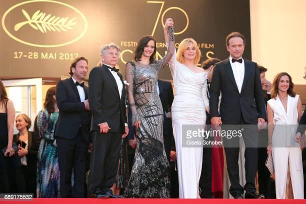 Director Roman Polanski Eva Green Emmanuelle Seigner and Vincent Perez leave the 'Based On A True Story' screening during the 70th annual Cannes Film...