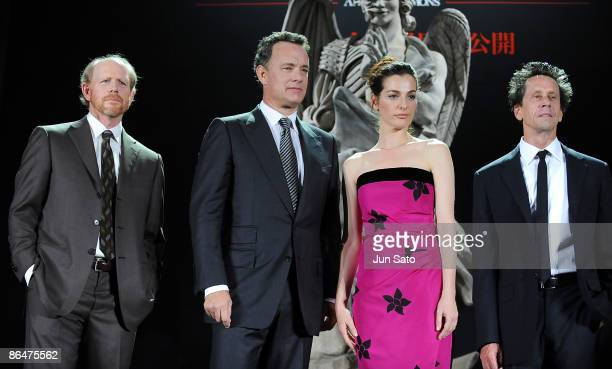 Director Ron Howard actor Tom Hanks actress Ayelet Zurer and producer Brian Grazer attend the 'Angels Demons' Japan Premiere at Marunouchi Building...