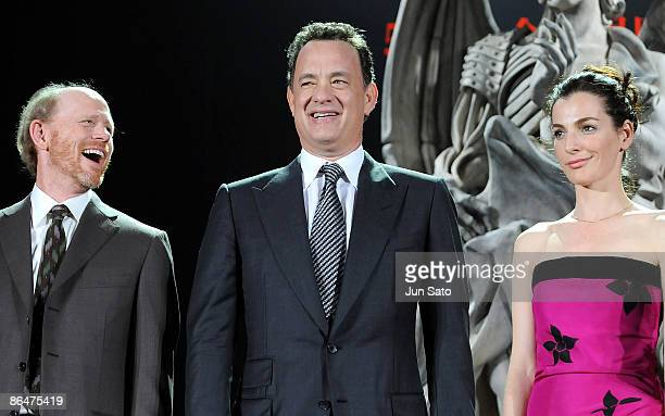 Director Ron Howard actor Tom Hanks and actress Ayelet Zurer attend the 'Angels Demons' Japan Premiere at Marunouchi Building on May 7 2009 in Tokyo...