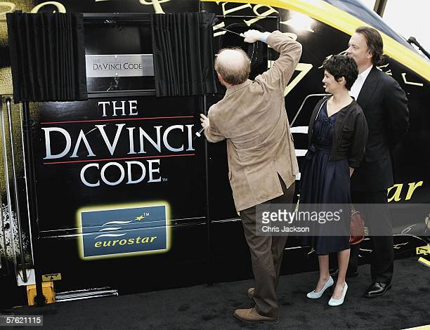 Director Ron Howard actors Audrey Tautou and Tom Hanks name a new Eurostar Train The Da Vinci Code at Eurostar's Waterloo International Terminal on...