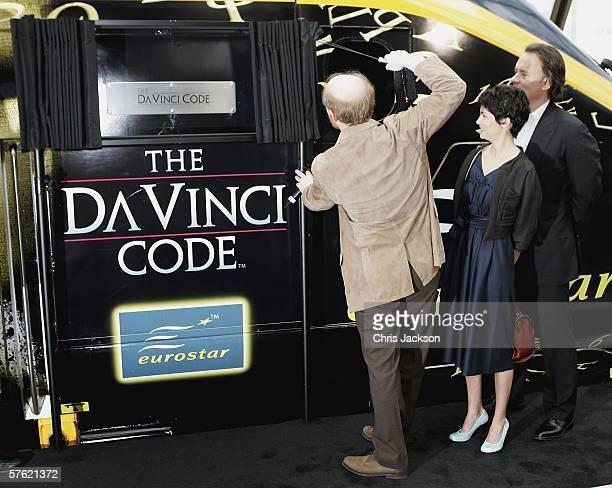 Director Ron Howard actors Audrey Tautou and Tom Hanks name a new Eurostar Train The Da Vinci Code at Eurostar's Waterloo International Terminal on...