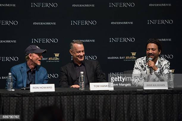 Director Ron Howard actors Tom Hanks and Irrfan Khan speak during the 'Inferno' press conference held at ArtScience Museum at Marina Bay Sands on...