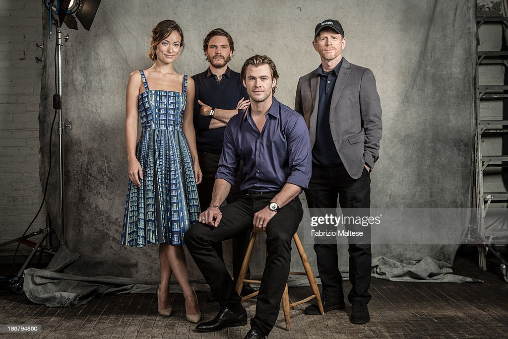 Director Ron Howard and actors Daniel Bruhl, <a gi-track='captionPersonalityLinkClicked' href=/galleries/search?phrase=Olivia+Wilde&family=editorial&specificpeople=235399 ng-click='$event.stopPropagation()'>Olivia Wilde</a>, <a gi-track='captionPersonalityLinkClicked' href=/galleries/search?phrase=Chris+Hemsworth&family=editorial&specificpeople=646776 ng-click='$event.stopPropagation()'>Chris Hemsworth</a> during the 38th annual Toronto International Film Festival are photographed for The Hollywood Reporter on September 9, 2013 in Toronto, Ontario. ON INTERNATIONAL EMBARGO (USA) UNTIL
