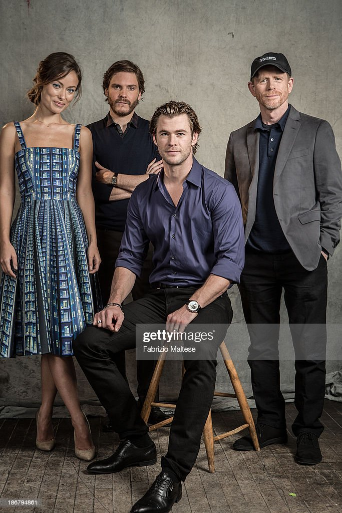 Director Ron Howard and actors Daniel Bruhl, Olivia Wilde, Chris Hemsworth during the 38th annual Toronto International Film Festival are photographed for The Hollywood Reporter on September 9, 2013 in Toronto, Ontario. ON INTERNATIONAL EMBARGO (USA) UNTIL
