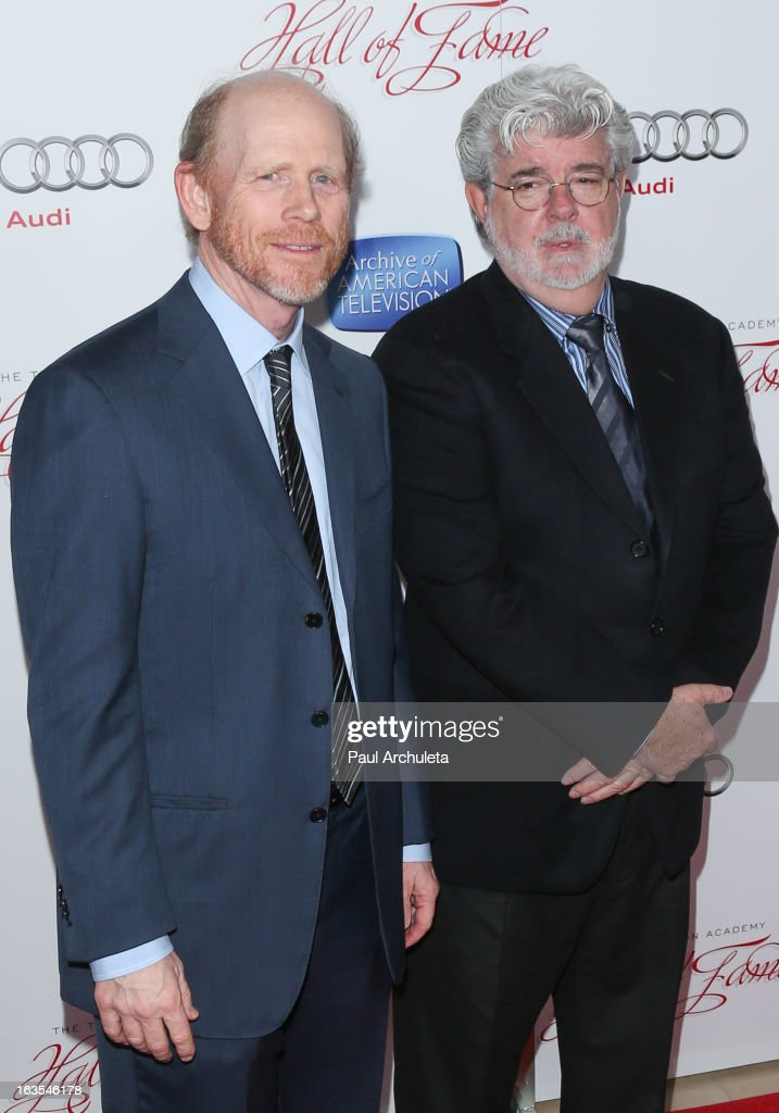 Director <a gi-track='captionPersonalityLinkClicked' href=/galleries/search?phrase=Ron+Howard+-+Director&family=editorial&specificpeople=201972 ng-click='$event.stopPropagation()'>Ron Howard</a> (L) and Producer <a gi-track='captionPersonalityLinkClicked' href=/galleries/search?phrase=George+Lucas&family=editorial&specificpeople=202500 ng-click='$event.stopPropagation()'>George Lucas</a> (R) attend the Academy Of Television Arts & Sciences 22nd annual Hall Of Fame induction gala at The Beverly Hilton Hotel on March 11, 2013 in Beverly Hills, California.